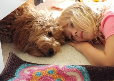 Beau Labradoodle with with kid